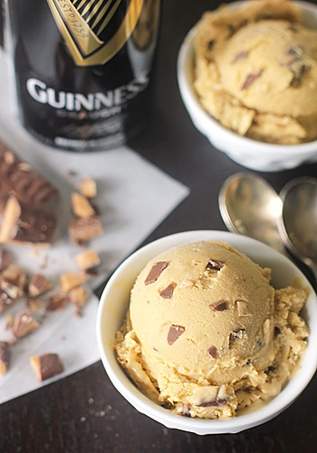Guinness Ice Cream with Chocolate Covered Toffee BitsRecipe: http://www.thegalleygourmet.net/2013/03/guinness-ice-cream-with-chocolate.html